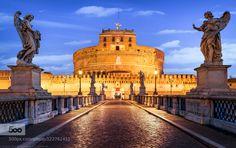 Blue Hour Castel Sant'Angelo Mausoleum of Hadrian  Parco Adri Blue Hour Castel Sant'Angelo Mausoleum of Hadrian  Parco Adriano Rome Italy