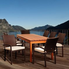 Outdoor Amazonia Virginia Beach Eucalyptus 9 Piece Rectangular Patio Dining Set with Brown Arm Chair - SC ATA_8LIBARM BR