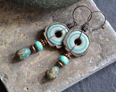 Teal aqua lampwork earrings Earthy Bohemian by JeSoulStudio