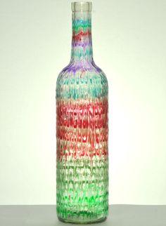 """Wine Bottle Art from the """"Kaleidoscope Illumination"""" collection"""