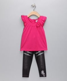 Take a look at this Hot Pink Angel-Sleeve Tunic & Jeggings - Infant by Blow-Out on #zulily today!  # fall