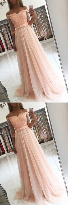 Pink Half Sleeves Tulle A-line Floor-length Off Shoulder Lace Prom Dress with Appliques,Long Prom Dress,YY449 · modern sky · Online Store Powered by Storenvy Prom Dresses With Sleeves, A Line Prom Dresses, Tulle Prom Dress, Prom Dresses Online, Cheap Prom Dresses, Homecoming Dresses, Lace Dress, Peach Prom Dresses, Prom Dresses For Teens Long