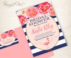 Set of 20 Flamingo Bridal Shower Invitations Prints by mimsysnest