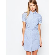 Fred Perry Tonal Polka Dot Belted Shirt Dress ($143) ❤ liked on Polyvore featuring dresses, blue, blue cotton dress, polka dot dress, cotton dress, tall dresses and belted dress