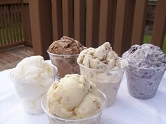 Favorite Ice Cream Recipes including: Pralines and Caramel, Burnt Almond Fudge, and Blackberry ice cream (among others)