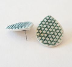 Porcelain Green Star Stamped Post Earrings by HelloHeyYo on Etsy, $12.00