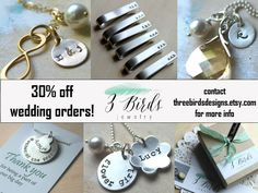Wedding Jewelry Discount. Bridal Party. Bridesmaid. Groomsman. Bride. Groom. Mother of the Bride Groom. Father of the Bride. Flower Girl. - pinned by pin4etsy.com