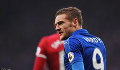 Jamie Vardy looks frustrated as he struggles to get much of a sight of goal during the opening 45 minutes