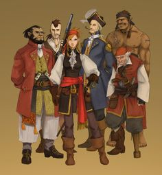 Pirat. Piratlajv. Olikheten karaktärerna emellan, olikheter klädstilar emellan.