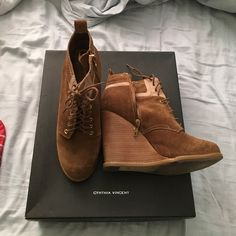 Cynthia Vincent lace up suede wedge Super comfortable and trendy lace up wedge shoe. Comes with box and dust bag, stacked heel and side zip Cynthia Vincent Shoes Lace Up Boots