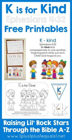Letter K is for Kind ~ FREE Bible Verse Printables, Ephesians 4:32