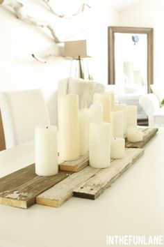 Clean and Simple Winter Decor Inspiration – Tidbits - winter decor Barn Board Tables, Barn Boards, Interior Design Minimalist, Decoration Table, Table Centerpieces For Home, Candle Centerpieces, Centrepieces, Diy Décoration, Deco Table