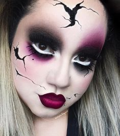 """"""" Creepy Broken Doll  Eye Contour Palette and Trooper Tattoo Liner by @thekatvond .. @sugarpill 2AM And Eyeshadow. @doseofcolors Berry Me 2 and Black…"""""""