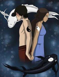Avatar: The Last Airbender. Zuko, Katara. Zutara. Tui and La. Yin and Yang.