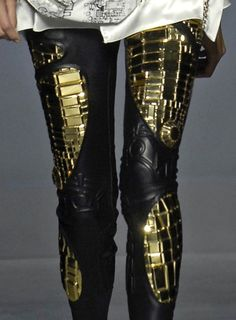 Must put 2+ of her legs together to equal one of mine - LoL- and generally not a fan of gold, but these pants = WHOA! :D