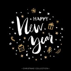 Happy New Year white on black with gold accents gifts tree happy-new-year-eve-photos Happy New Year Status, Happy New Year Message, Happy New Year 2016, Happy New Year Images, Happy New Year Quotes, Happy New Year Wishes, Quotes About New Year, New Year 2020, Merry Christmas And Happy New Year
