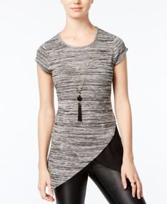 BCX Juniors' Space-Dyed Asymmetrical-Hem Top with Necklace
