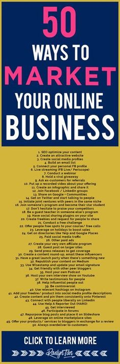 How to market your online business: 50 marketing tips and ideas to successfully make money as an online entrepreneur.