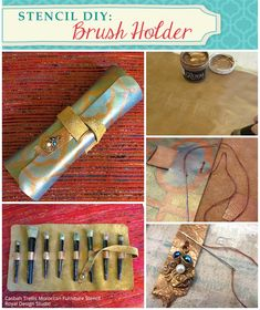 Stencil DIY: Brush Holder