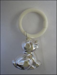 Zilveren rammelaar, hondje. - 'De Gouden Eeuw'