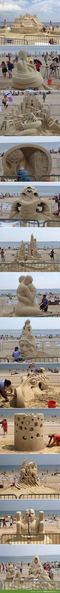 Revere beach sand sculpting festival, the octopus was the winner