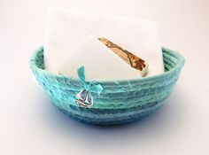 Sailboat Charm Coiled Basket, Nautical Coiled Rope Basket, Medium Aqua Basket, Hand Dyed Fabric, Beach Home Decor, Gift Basket, Laura Loxley