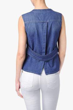 Sleeveless Banded Denim Shirt in Atlantic Spring Blue