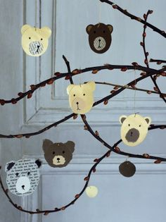 Paper Bear Ornaments from Marie Claire Idees.use pages from old books? Old Book Crafts, Paper Crafts For Kids, Cardboard Crafts, Diy For Kids, Diy And Crafts, Origami Paper Art, Diy Paper, Teddy Bear Crafts, Creative Kids