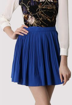 Chiffon Blue Pleated Skirt