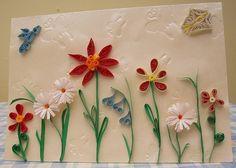 quilling flower garden card