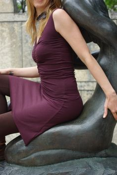 Love this dress! Summer Slip Dress in organic bamboo jersey *MADE TO ORDER in Aubergine*