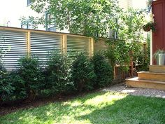 Modern Metal Fence And Fence With Reclaimed Lumber And Corrugated Steel  Photo Page