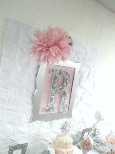 "Backdrop ideas - Pink + Grey Damask Baby Shower / Baby Shower/Sip & See ""Pink + Gray Damask Baby Shower"" 