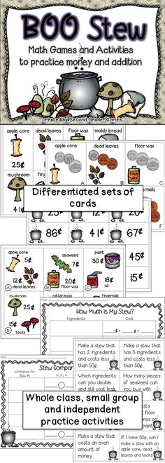 $ - Halloween! differentiated cards with coins and prices to practice adding, comparing and constructing sets of coins