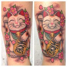 Instagram:  @megonshore  #LuckyCatTattoo #ManekiNekoTattoo #Tattoo