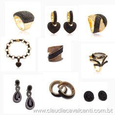 O charme das Zircônias negras. Peças disponíveis na loja on-line: www.claudiacavalcanti.com.br