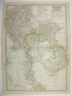 Antique East India Map Vintage Vietnam Siam Thailand Cambodia Burma 1899 Gifts Under 20 Gifts for Home Black Friday Sale Cyber Monday Sale by OldMapsandPrints
