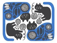 【Flower cat】#illust #textile #design #猫 #cat #イラスト #北欧デザイン #北欧イラスト #テキスタイル Type Illustration, Illustrations And Posters, Cat Lady, Textile Design, Design Trends, Scenery, Textiles, Embroidery, Cats