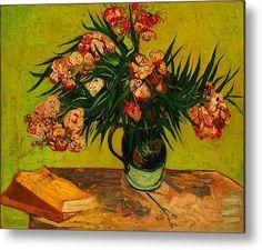 Vincent Van Gogh Vase With Oleanders And Books Print