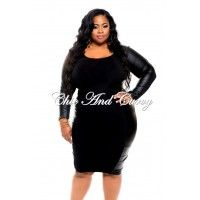 New Plus Size BodyCon with Liquid Panels in Black 1x 2x 3x