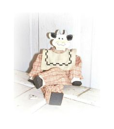 MOLLY COW Doll, Farmhouse Folk Art Vintage Wooden Doll , Wood Doll, Country Home Decor by ICreateAndCollect on Etsy