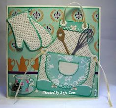 Anja Zom kaartenblog - Marianne Creatables Design Apron Die with Kitchen utensils