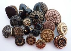 19 Antique & Vintage Black Glass Buttons with Gold or Bronze Lustre Collectable
