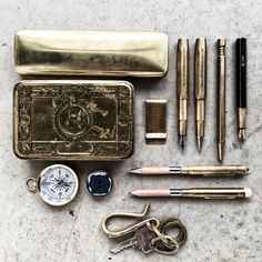 "We love the look of raw brass, if you do too, just type the keyword ""brass"" in the search box on our web site. You'll find most of the items in this pic (not the #WWI box!) and more!  #rawbrass #nomadostore #midoritravelersnotebook, #everydaycarry 