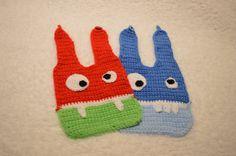 Set of 2 Monster bibs Silly face Bibs Funny by CrochetByAshlee