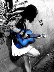 Like the design behind this guitar girl, the blue guitar, and the butterflies next to her.