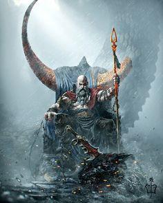Dark Fantasy Art, Fantasy Kunst, Fantasy Artwork, Kratos God Of War, Fantasy Character Design, Character Art, Art Viking, God Of War Series, Drawn Art
