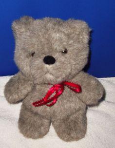 "Vintage 1985 Mattel Emotions Teddy Bear Gray 9"" Stuffed Animal Plushie #Mattel #AllOccasion"