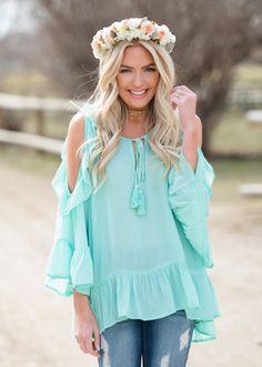 0b68446689dbb Peek a Boo Shoulder Ruffle Tie Top Mint CLEARANCE Womens Trendy Tops