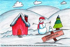 Nature Drawing For Kids, Drawing Classes For Kids, Basic Drawing For Kids, Drawing Pictures For Kids, Easy Drawings For Kids, Art Drawings Sketches Simple, Painting For Kids, Art For Kids, Christmas Scene Drawing